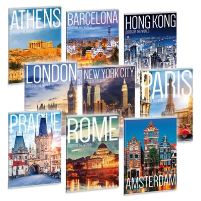 Füzet ARS UNA A/4 40 lapos Extra kapcsos sima Cities Of The World