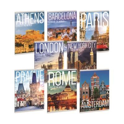 Füzet ARS UNA A/5 40 lapos Extra kapcsos vonalas Cities Of The World