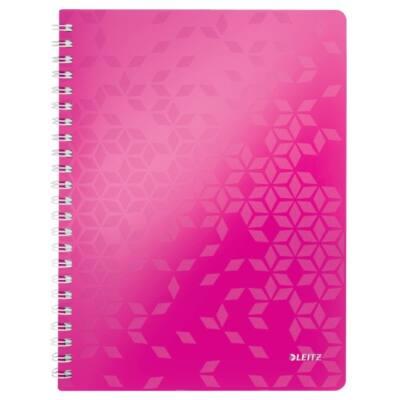 Spirálfüzet LEITZ Wow A/4 80 lapos vonalas rózsaszín