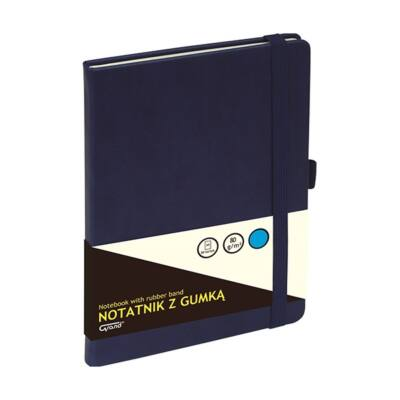 Jegyzetfüzet GRAND A/5 80 lapos puha sötétkék kockás