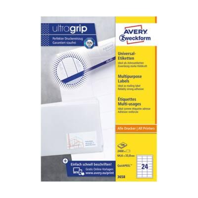 Etikett AVERY 3658 64,6x33,8mm univerzális sárga 2400 címke/doboz 100 ív/doboz