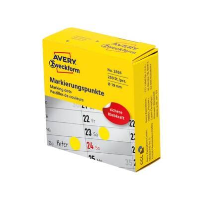 Etikett AVERY 3856 öntapadó jelölőpont adagoló dobozban sárga 19mm 250 jelölőpont/doboz