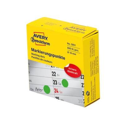 Etikett AVERY 3851 öntapadó jelölőpont adagoló dobozban zöld 10mm 800 jelölőpont/doboz
