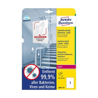 Etikett AVERY L8001-10 210x297mm antimikrobiális fehér 10 címke/doboz 10 ív/doboz