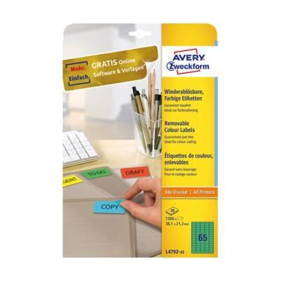 Etikett AVERY L4792-20 38,1x21,2mm zöld 1300 címke/doboz 20 ív/doboz