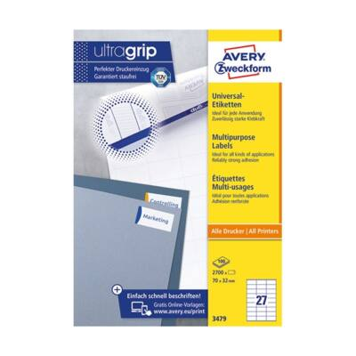 Etikett AVERY 3479 70x32 mm fehér univerzális 2700 címke/doboz 100 ív/doboz