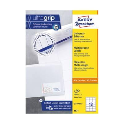Etikett AVERY 3671 64x45 mm fehér univerzális  1800 címke/doboz 100 ív/doboz