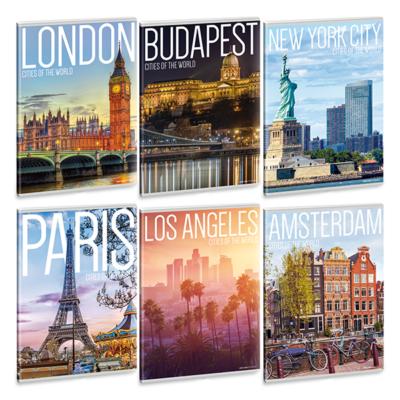Füzet ARS UNA A/4 40 lapos Extra kapcsos vonalas Cities of the world 21