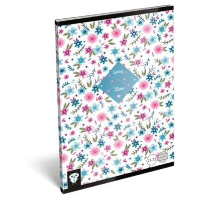 Füzet LIZZY A/5 32 lapos vonalas 21-32 Flower white
