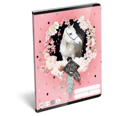 Füzet LIZZY CARD A/5 32 lapos vonalas 14-32 I. osztályos Rose fehér lovas