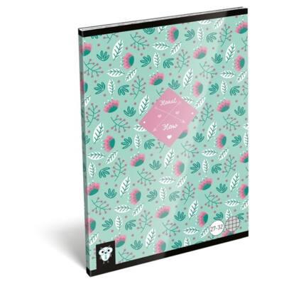 Füzet LIZZY A/5 32 lapos kockás 27-32 Flower green