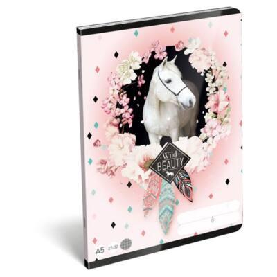 Füzet LIZZY A/5 32 lapos kockás 27-32 rose fehér lovas