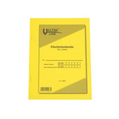 Nyomtatvány pénztárelszámolás VECTRA-LINE A/5 25x2 lapos