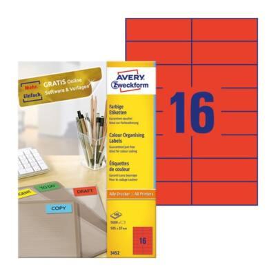 Etikett AVERY 3452 105x37mm univerzális piros 1600 címke/doboz 100 ív/doboz