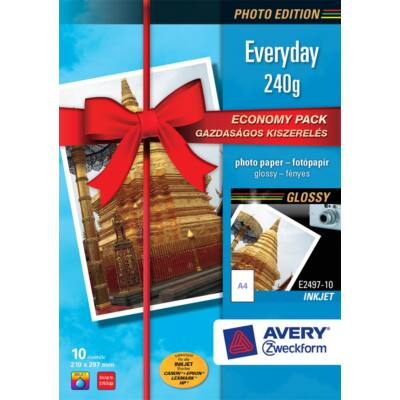 Fotópapír AVERY E2497-10 Economy 240g fényes A/4 inkjet nyomtatóhoz 10 ív/doboz