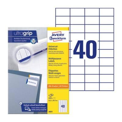 Etikett AVERY 3651 52,5x29,7mm univerzális fehér 4000 címke/doboz 100 ív/doboz