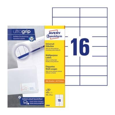 Etikett AVERY 3484 105x37mm univerzális 1600 címke/doboz 100 ív/doboz