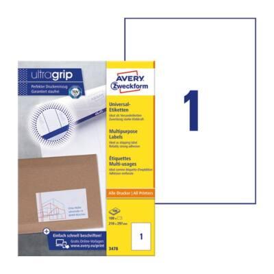 Etikett AVERY 3478 210x297mm univerzális 100 címke/doboz 100 ív/doboz