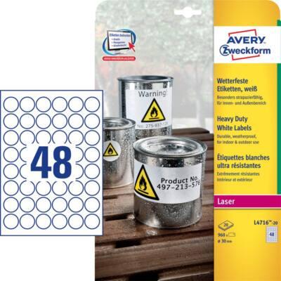 Etikett AVERY L4716-20 kör 30 mm fehér időjárásálló laser 960 címke/doboz20 ív/doboz