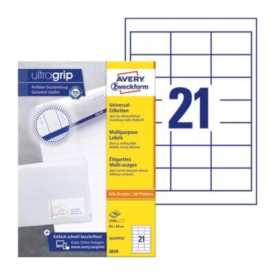 Etikett AVERY 3670 64x36mm univerzális 2100 címke/doboz 100 ív/doboz