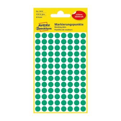 Etikett AVERY 3012 jelölőpont 8mm zöld 416 db/csomag