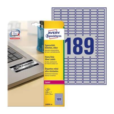 Etikett AVERY L6008-20 25,4x10mm laser ezüst 3780 címke/doboz 20 ív/doboz