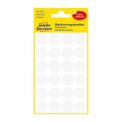Etikett AVERY 3170 öntapadó jelölőpont fehér 18mm 96 jelölőpont/csomag
