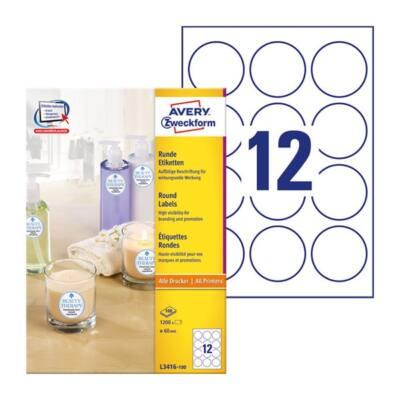 Etikett AVERY L3416-100 60mm univerzális kör 1200 címke/doboz 100 ív/doboz