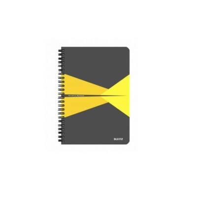 Spirálfüzet LEITZ Office A/4 PP borítóval 90 lapos kockás sárga