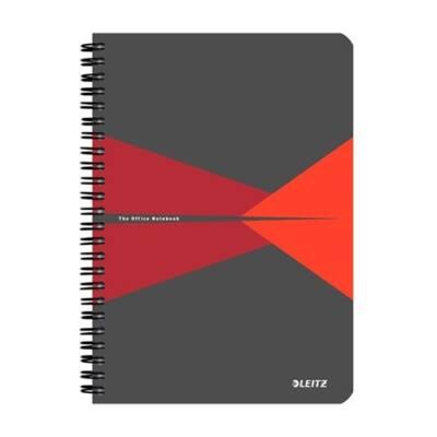 Spirálfüzet LEITZ Office A/5 karton borítóval 90 lapos vonalas piros