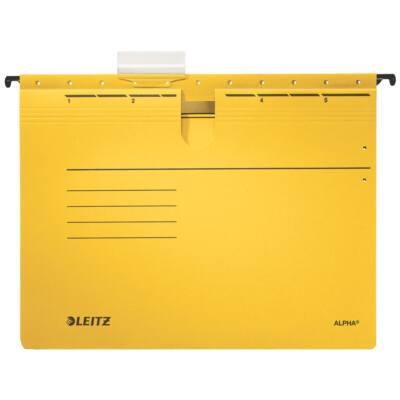 Függőmappa gyorsfűző szerkezettel LEITZ Alpha A/4 karton sárga 25 db/doboz