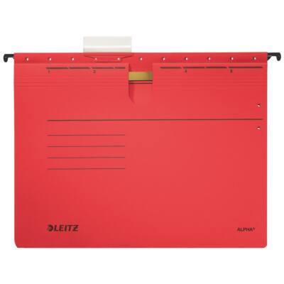 Függőmappa gyorsfűző szerkezettel LEITZ Alpha A/4 karton piros 25 db/doboz